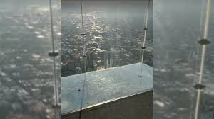 Chicago the glass floor of the Willis Tower cracks and creates a beautiful fright